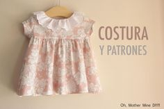 FREE dress pattern (in Spanish) Sewing Kids Clothes, Baby Kids Clothes, Doll Clothes, Baby Dress Tutorials, Baby Dress Patterns, Couture Bb, Baby Sewing Projects, Clothing Patterns, Kids Outfits