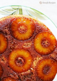 Pineapple Upside Down Cake ~ The best pineapple upside down cake recipe ever! No kidding. Caramel topping with pineapple rounds over a dense cake with almond flour. ~ SimplyRecipes.com