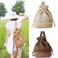 New Manual Beach Rucksack Openwork Crochet Backpack Straw Shoulder Bag Handbag