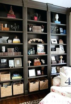 small dark brown bookcase this with basic bookshelves and crown molding small dark brown bookshelf Library Shelves, Bookcase Shelves, Built In Bookcase, Shelving, Book Shelves, Wall Shelves, Barrister Bookcase, Corner Shelves, Open Shelving