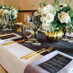 We absolutely loved being a part of this stunning wedding at the Bel Air Bay Club. Our gold flatware was both elegant and dramatic.  | Pretty Vintage Rentals -  California weddings