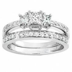 1.00 Carat Princess cut Diamond Three Stone Wedding Set 10K White Gold $979.99