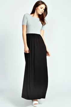 Lulu contrast Top Short Sleeved Jersey Maxi Dress at boohoo.com