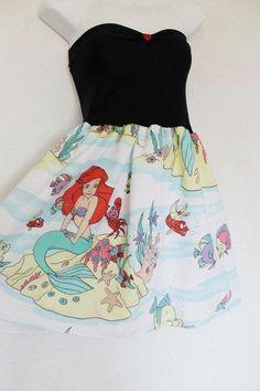 The LITTLE MERMAID Disney Party Dress Bow Disney by lynnsrags, via Etsy. Made from recycled bed sheets. Robes Disney, Disney Dresses, Disney Outfits, Cute Outfits, Mermaid Disney, Ariel The Little Mermaid, Ariel Disney, Pretty Dresses, Beautiful Dresses