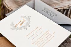 Elegant Orange and Gray Fall Wedding Invitations by Salt + Pepper Press