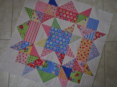 Lucy & Norman: Swooning and Swirling-no pattern scrappy inspiration of swoon block Star Quilt Blocks, Star Quilts, Scrappy Quilts, Mini Quilts, Quilting Tutorials, Quilting Projects, Quilting Designs, Half Square Triangle Quilts, Square Quilt