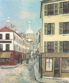 Vintage Lithograph Art Print Maurice Utrillo Joan of Arc Street in the Snow