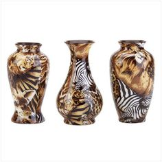 In bold and beautiful safari Patchwork, these three small bud vases will make eye-catching displays anywhere they are placed. African Room, African House, African Theme, African Safari, African Prints, Safari Living Rooms, Safari Bedroom, Cheetah Bedroom, Animal Bedroom
