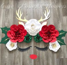 This item is unavailable - Christmas reindeer flower wall Decor , Rudolph wall decor, Christmas flower decor , red nosed p - Paper Flower Decor, Paper Flower Backdrop, Flower Wall Decor, Spring Crafts, Diy And Crafts, Christmas Crafts, Christmas Flowers, Christmas Paper, Xmas Decorations