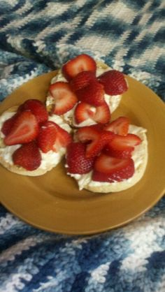Whipped cream cheese honey strawberries on english muffin..excellent breakfast