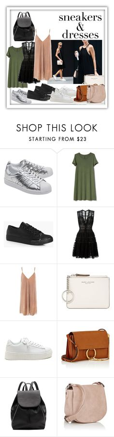 """""""Sneakers & dresses"""" by v-aldina ❤ liked on Polyvore featuring Casio, adidas Originals, Gap, Boohoo, Elie Saab, Sans Souci, Marc Jacobs, Chloé, Witchery and Deux Lux"""