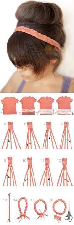 t-shirt transformer DIY en bandeau tressé pour les cheveux