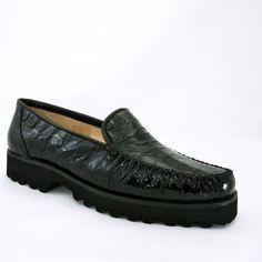 f4429fda750d4 201-229 Black Printed Leather Moccasin