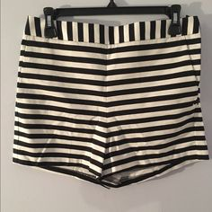 Express Dress Shorts Black&white striped Express shorts. Never worn. High waisted. Hidden side zipper. Express Shorts