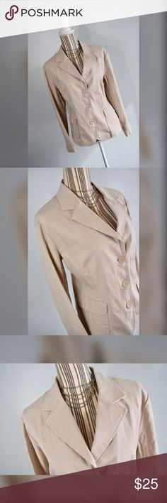 """🎀NY & Co Blazer🎀 Beige blazer by New York & Company. Two front pockets. Size tag was cut off, this fits an XL. Please check your measurements though!   Closure: 3 Buttons   Measurements Bust: 42"""" lying flat, stretches to 45"""" Shoulder to Hem Length: 24""""  Sleeve Length: 22.5"""" New York & Company Jackets & Coats Blazers"""
