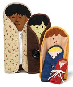 Sweet nesting dolls and practice with zippers, buttons, snaps & laces