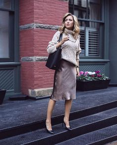 Chunky sweater & satin midi skirt from Mary Orrin at Memorandum