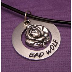 Doctor Who Inspired - Bad Wolf - A Hand Stamped Aluminum Washer... ($19) ❤ liked on Polyvore featuring jewelry, necklaces, doctor who, accessories, rose necklace, hand stamped jewelry, rose jewelry and hand stamped necklace