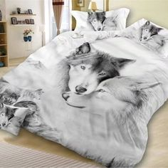 Hot Sale 3d Animal Desert Wolf Bedding Set Bedlinen Set Duvet Cover Set 100%cotton Bedding Sets Home Textiles Childrens Gift Pure White And Translucent Power Source
