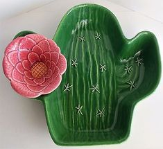 Vintage Ceramic Treasure Craft Flowering Cactus Chip Dip Bowl Set Saguaro Dish