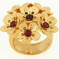 Meredith Leigh Yellow-plated Silver Rhodolite/ White Topaz Flower Ring