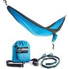 Double Parachute Camping Hammock with FREE Tree Straps by Youphoria Outdoors - Lightweight Nylon Compression Travel Hammock with Premium Wiregate Aluminum Carabiners. 100% SATISFACTION MONEY-BACK GUARANTEE