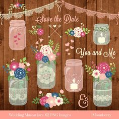 Mason Jar Clipart WEDDING MASON JARS Rustic Jars Wedding Invitation