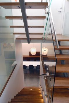 Exciting Small Spaces with Staircase Design Ideas: Attractive Others Exotic Space Saving Half Turn Staircase With Glass Baluster Adorably Cool Contemporary Interior Home Design With White Painting Wall Decorating Ideas ~ fharriman.com Interior Design Inspiration