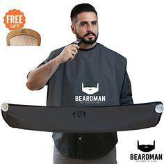 BEARDMAN - Hair Trimming Catcher Cape - The Improved Beard Apron with Strong Suction Cups for Mirror - Wooden Beard Comb Included - Best Gifts Idea for Him Men Boyfriend Husband - Black Beard Apron, Thing 1, Catcher, Best Gifts, Boyfriend, Husband, Strong, Men, Black