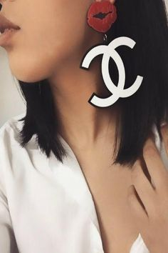 Lip Replica Chanel Inspired CC Logo Statement Earrings - Red or Hot Pink
