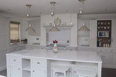 Plaster Stand alone grey Sage Green Kitchen, All White Kitchen, New Kitchen, Shaker Kitchen, Rustic Kitchen, Stainless Steel Hood, Spice Drawer, Old Fireplace, Kitchen Clocks