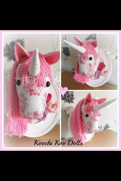 Shabby Chic Wall Mounted Unicorn Head