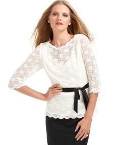 Alex Evenings Petite Top, Three Quarter Sleeve Lace - Womens Petite Dresses - Macy's