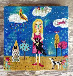 Cat Girl Folk Art Mixed Media on Wood Panel by evesjulia12 on Etsy