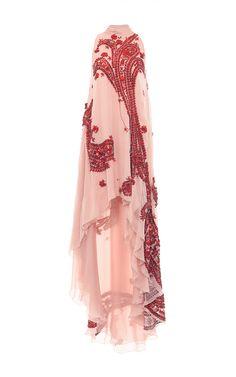 Patent Leather Embroidered Chiffon Asymmetric Gown by ANTONIO BERARDI for Preorder on Moda Operandi