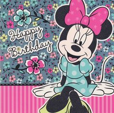 Happy Birthday Minnie Mouse   Minnie Mouse - Boutique Happy Birthday Card