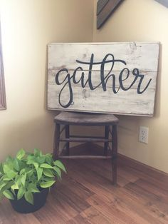 Gather sign. Wood wall art. Word art. Reclaimed wood sign. Farm house decor. Home decor.