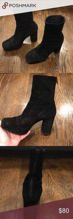 Free people booties Black suede free people boots, platform, mid calf Free People Shoes Ankle Boots & Booties