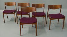 Set of 5 Five Danish Modern Teak Dining Chairs
