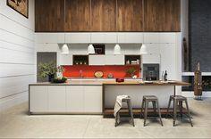 Cocina con isleta central y mesa de desayuno incluída Contemporary Kitchen by ZeroEnergy Design