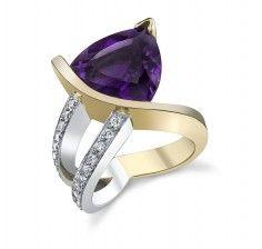 14KTT 6.13ct AZ Four Peaks Amethyst & Diamond Ring #361306