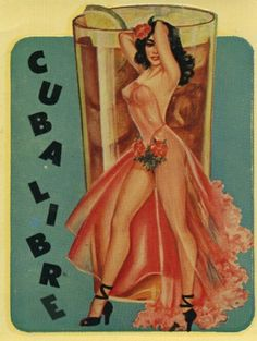 Pin Up Girl Poster Cuba Libra Cocktail Drink Bar Latina Cute Retro Pin Up Vintage, Pub Vintage, Vintage Art, Vintage Cuba, Vintage Room, Vintage Glamour, Vintage Kitchen, Pinup Art, Pin Up Girls