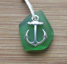 Emerald Green Sea Glass Nautical Anchor Necklace by WaveofLife,