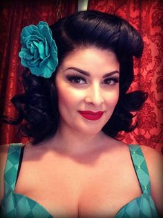 great make up and pin up style hair do