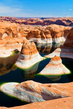 The Reflection Canyon, Lake Powell,   Utah/Arizona, USA. Lake Powell is a reservoir on the Colorado River, straddling the border between Utah and Arizona. It is a major vacation spot that around 2 million people visit every year