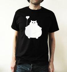 Cat T shirt Black T Shirt Fat Cat Fat Kitty by thenosuchdisco, £15.00