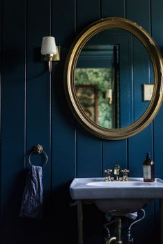 indigo blue v groove wooden paneling in bathroom LOCATION: Could be cool in Powder Room in lieu of expensive tile