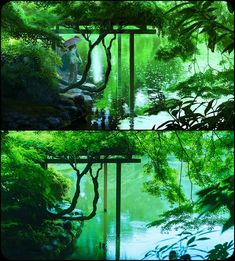 "Comparing original photos and animated versions. From the movie ""The Garden of Words"" by Makoto Shinkai."