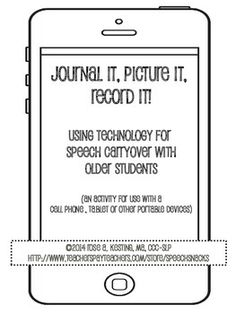 Journal It, Picture it, Record it---A Speech Carryover Activity for Older Students {FREE}
