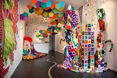 Sarah Applebaum's installations and sculptures - afghans, vintage blankets, felt, and yarn!